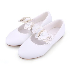 Girl's Leatherette Flat Heel Closed Toe Flats With Flower (207095477)