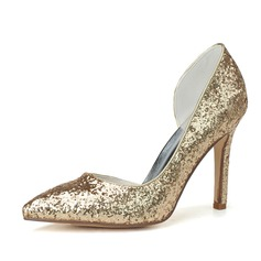 Women's Sparkling Glitter Stiletto Heel Closed Toe Pumps
