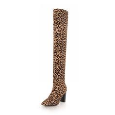 Mulheres Camurça Salto robusto Botas Bota em cima do joelho sapatos
