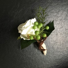 Round Satin/Lace/Linen Rope Boutonniere (Sold in a single piece) -