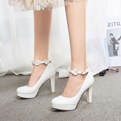 Women's Leatherette Stiletto Heel Pumps Platform Closed Toe With Buckle Flower shoes