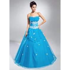 Ball-Gown Scalloped Neck Floor-Length Organza Quinceanera Dress With Beading Appliques Lace Sequins Cascading Ruffles