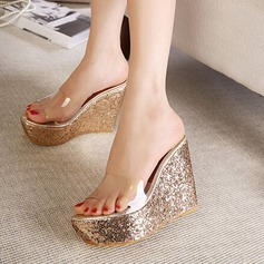 Women's PVC Wedge Heel Sandals Wedges Slippers With Jewelry Heel shoes (087127465)