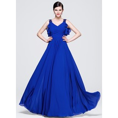 A-Line/Princess V-neck Floor-Length Chiffon Evening Dress With Ruffle Beading Sequins Cascading Ruffles