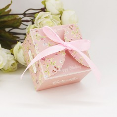Floral Design Card Paper Favor Boxes With Ribbons