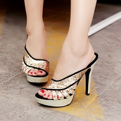 Women's Leatherette Stiletto Heel Sandals Platform Peep Toe With Rivet Sparkling Glitter Hollow-out shoes (087111877)