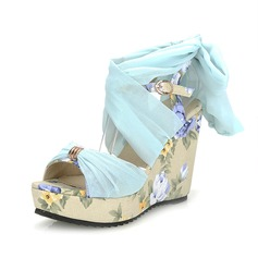 Leatherette Wedge Heel Sandals Slingbacks With Buckle shoes (116046782)