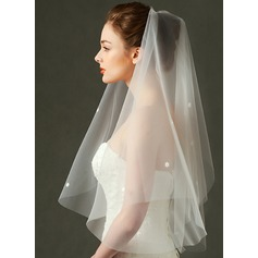 One-tier Elbow Bridal Veils With Cut Edge