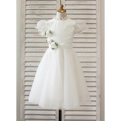 A-Line/Princess Tea-length Flower Girl Dress - Tulle/Lace Short Sleeves High Neck With Flower(s)