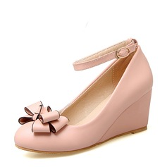 Women's PVC Wedge Heel Wedges With Bowknot shoes