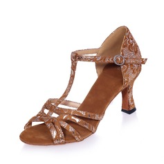 Women's Suede Heels Sandals Latin With T-Strap Dance Shoes