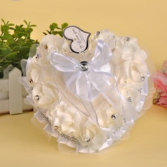 Heart Shaped Ring Pillow in PE With Bow/Beading