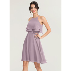 A-Line/Princess Square Neckline Knee-Length Chiffon Cocktail Dress