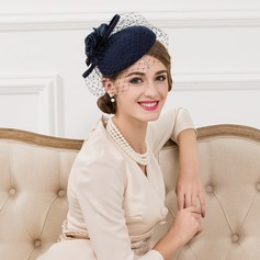 Ladies' Vintage Wool With Silk Flower/Tulle Fascinators