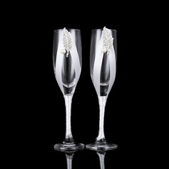 Elegant Toasting Flutes With Faux Pearl (Set Of 2)