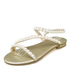 Femmes Similicuir Talon plat Sandales Chaussures plates avec Perle d'imitation chaussures