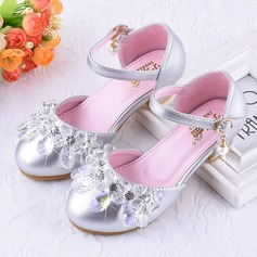 Girl's Round Toe Closed Toe Leatherette Low Heel Flower Girl Shoes With Velcro Crystal