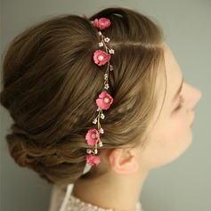 Ladies Gorgeous Imitation Pearls/Silk Flower Headbands With Venetian Pearl (Sold in single piece)