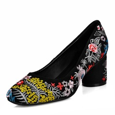Women's Real Leather Chunky Heel Pumps With Flower shoes