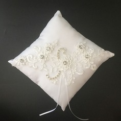 Gorgeous Ring Pillow in Satin/Lace With Ribbons/Rhinestones/Flowers