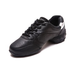 Women's Men's Real Leather Sneakers Practice Dance Shoes