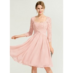 A-Line/Princess Sweetheart Knee-Length Chiffon Cocktail Dress With Ruffle Beading