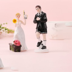 Sports Couple/Mr. & Mrs. Resin Cake Topper (Sold in a single piece)