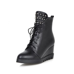 Leatherette Wedge Heel Platform Wedges Ankle Boots With Rivet Braided Strap shoes