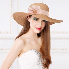 Ladies' Charming Papyrus With Silk Flower Floppy Hat/Straw Hat