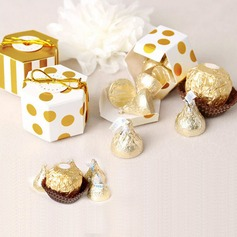 Creative/Lovely Cubic Card Paper Favor Boxes With Gold Line
