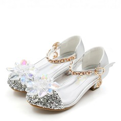 Girl's Round Toe Closed Toe Leatherette Sparkling Glitter Low Heel Flats Flower Girl Shoes With Crystal