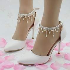 Women's Leatherette Stiletto Heel Closed Toe Pumps Sandals MaryJane With Buckle Imitation Pearl