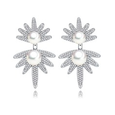 Fashional Pearl/Zircon/Platinum Plated Ladies' Earrings