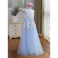 A-Line/Princess Floor-length Flower Girl Dress - Tulle Short Sleeves Scoop Neck With Appliques/Bow(s)