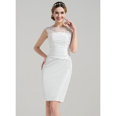 Sheath/Column Scoop Neck Knee-Length Satin Wedding Dress With Ruffle Appliques Lace