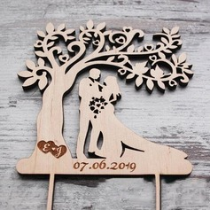 Personalized Kissing Couple Wood Cake Topper (119187791)
