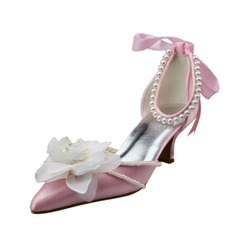 Women's Satin Low Heel Closed Toe Pumps With Flower