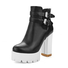 Women's Patent Leather Chunky Heel Boots shoes