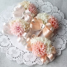 Attractive Ribbon/Artificial Silk Flower Sets (set of 2) - Wrist Corsage/Boutonniere