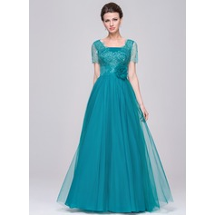 A-Line/Princess V-neck Floor-Length Tulle Lace Mother of the Bride Dress With Ruffle Flower(s)