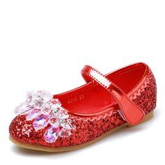 Muchacha Encaje Punta Cerrada Sparkling Glitter Talón plano Planos Zapatos de niña de las flores con Velcro Crystal