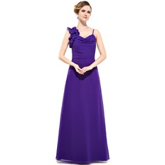 Sheath/Column Cowl Neck Floor-Length Chiffon Bridesmaid Dress With Cascading Ruffles