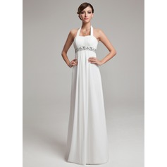 Empire Halter Floor-Length Chiffon Wedding Dress With Ruffle Beading Sequins