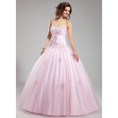 Ball-Gown Sweetheart Floor-Length Tulle Wedding Dress With Ruffle Beading Appliques Lace