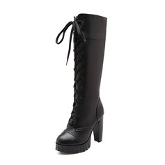 Women's Leatherette Chunky Heel Platform Closed Toe Knee High Boots With Lace-up shoes