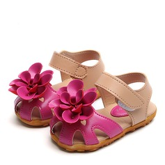 Girl's Round Toe Closed Toe Leatherette Sandals Flats With Velcro Flower