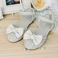 Girl's Leatherette Flat Heel Closed Toe Flats With Bowknot Imitation Pearl