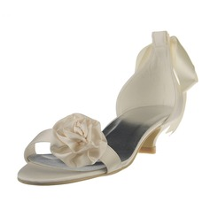 Women's Satin Kitten Heel Sandals With Flower