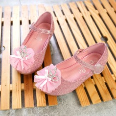 Girl's Closed Toe Leatherette Flat Heel Flats Flower Girl Shoes With Rhinestone Satin Flower