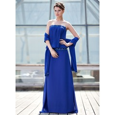 Sheath/Column Strapless Sweep Train Chiffon Mother of the Bride Dress With Lace Beading Pleated